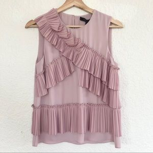BCBGMAXAZRIA PLEATED RUFFLED APPLIQUE BLOUSE